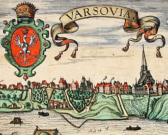St. John's Archcathedral, Warsaw - Image: Hogenberg View of Warsaw (detail)