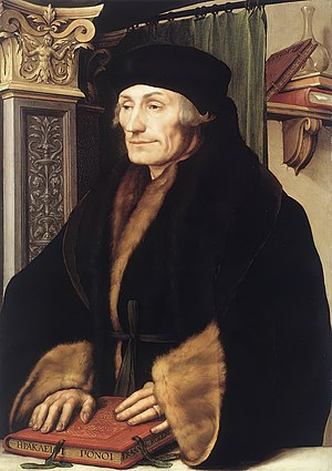 Hans Holbein the Younger - Portrait of Erasmus of Rotterdam, 1523. Oil and tempera on wood, National Gallery, London, on loan from Longford Castle