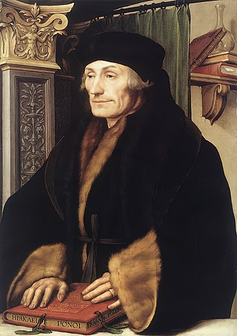 The humanist Desiderius Erasmus who wrote In Praise of Folly, one of the most significant works of Renaissance literature. Holbein-erasmus.jpg