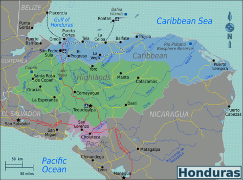 Honduras Travel Guide At Wikivoyage - Map of honduras