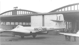 No. 611 Squadron RAF - No. 611 Squadron Meteor F.8 WH505 'A' outside the Belfast Truss hangars at RAF Hooton Park in September 1952