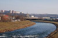 Hornád between Hlinková and Railway bridge.JPG