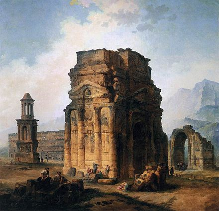 The Arc de Triomphe and the Theatre of Orange, 1787 (Louvre), part of the Principal Monuments of France series Hubert Robert - The Arc de Triomphe and the Theatre of Orange - WGA19600.jpg