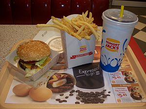 Hungry Jack's - A Hungry Jack's Bacon Deluxe combo meal, a long-standing menu option unique to the Australian market