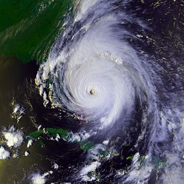 A view of Hurricane Floyd from Space on September 14, 2009. The storm is mature and well-defined, with a pronounced eye feature. Floyd is located over the Bahamas, and to the north and east of Cuba and Florida, respectively.