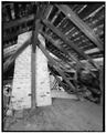 INTERIOR OF ATTIC LOOKING WEST - Planter's Cabin, 7815 Highland Road, Baton Rouge, East Baton Rouge Parish, LA HABS LA,17-BATRO,9-12.tif