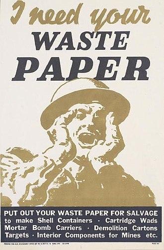Paper Salvage 1939–50 - Wartime paper salvage propaganda poster