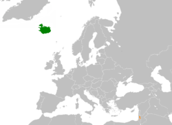 Map indicating locations of Iceland and Palestine