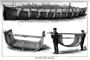 Emin Pasha Relief Expedition - The steel boat Advance as depicted in In Darkest Africa by H.M. Stanley.