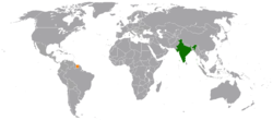 Map indicating locations of India and Suriname