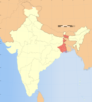 Map of India showing location of West Bengal