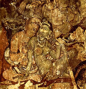 The Ajanta paintings were made during the Gupta period, these cave paintings depicts scenes from Buddhist texts.
