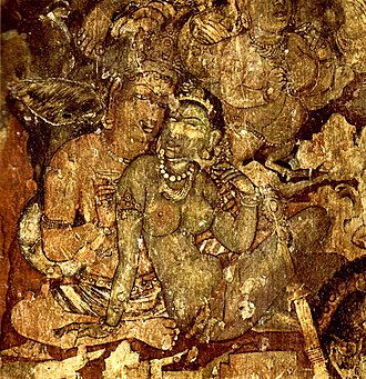 India - Paintings at the Ajanta Caves in Aurangabad, Maharashtra, 6th century