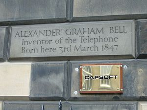 Alexander Graham Bell honors and tributes - Inscribed marker at Bell's birthplace in Edinburgh, Scotland.