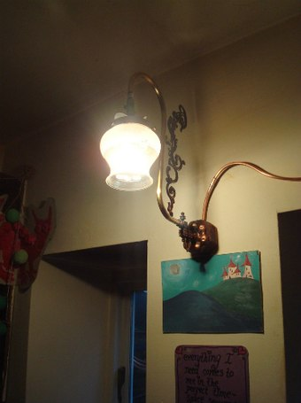 A three mantle gas lamp in modern use Interior Gas Lighting, 3 Light Swan neck bracket.jpg
