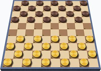 Checkerboard - The opening setup of international draughts, which uses a 10×10 checkerboard