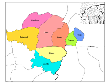 Dano Department location in the province