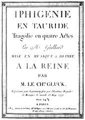 Titelblatt der gedruckten Partitur der Iphigénie en Tauride (Paris 1779) (Quelle: Wikimedia)