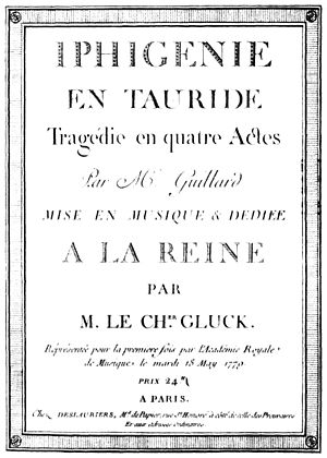 Iphigénie en Tauride - Title-page of the first printed score