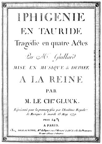 Iphigénie en Tauride (Gluck) - Title-page of the first printed score