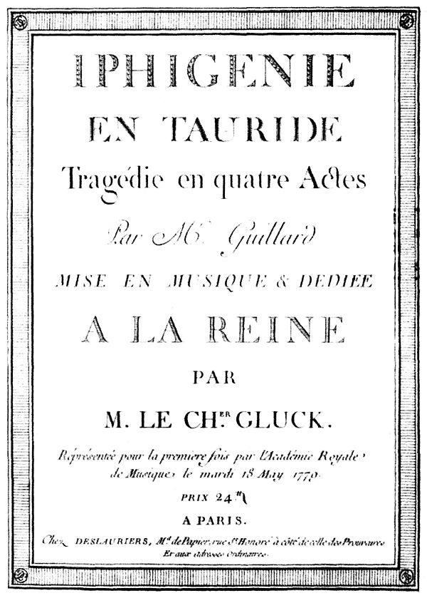 Title-page of the first printed score Iphigenie en Tauride frontespizio partitura.JPG