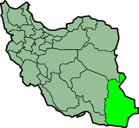 Map of Iran with सिस्तान और बलूचिस्तान highlighted.