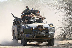Army Ranger Wing - ARW vehicle patrol in Ford F-350 SRV in Chad in 2008