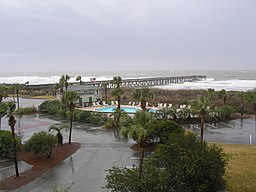 Stormfuldt vejr ved Isle of Palms langs South Carolinas kyst.   Kystområderne hjemsøges sommetider af orkaner.   Billedet viser også sa+balde- eller palmettopalmetræer, det træ som har givet delstaten dens øgenavn og også vises i flaget.