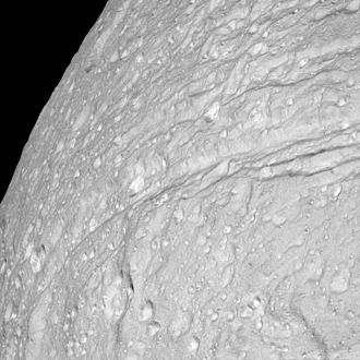 Ithaca Chasma - Cassini closeup of the southern end of Ithaca Chasma
