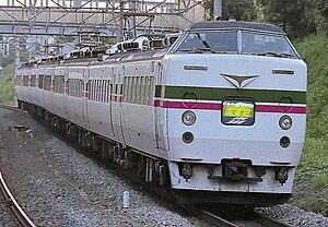 "Azusa (train) - A 183 series EMU in original ""Grade-up Azusa"" livery"