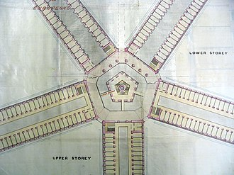 John Frederick Adolphus McNair - An 1880s architectural drawing by McNair depicting a proposed panopticon-style prison at Outram that was never built