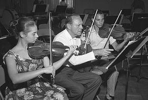 Rehearsal -  Jack Benny at a rehearsal with members of the California Junior Symphony Orchestra, 1959