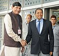 Jakaya Kikwete being received by the Minister of State for Agriculture, Shri Mohanbhai Kalyanjibhai Kundariya on his arrival, at Indira Gandhi International Airport, in New Delhi on June 17, 2015.jpg