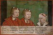 Kaiser Maximilian II. (1527–1576) mit seinen Brüdern Ferdinand II. (1529–1595) und Johann (1538–1539) (Quelle: Wikimedia)