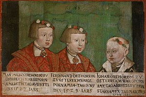 Maximilian II, Holy Roman Emperor - Maximilian and his younger brothers Ferdinand II and John, painting by Jakob Seisenegger, 1539