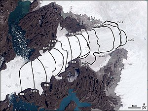 Ice calving - Landsat image of Jakobshavn Isbræ. The lines show the position of the calving front of the Jakobshavn Isbræ since 1851. The date of this image is 2001 and the calving front of the glacier can be seen at the 2001 line. The area stretching from the calving front to the sea (towards the bottom left corner) is the Ilulissat icefjord. Courtesy of NASA Space Observatory