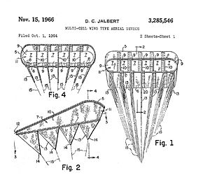 Parafoil - Illustrations from Jalbert's 1966 patent, showing the keels and the airfoil shape.