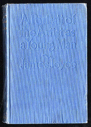 "A book cover. It is entirely blue, and has ""A Portrait of the Artist as a Young Man ~ James Joyce"" embossed on it."