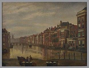 Binnenrotte gezien richting Lombardse brug met op de voorgrond twee verkoopsters met waren
