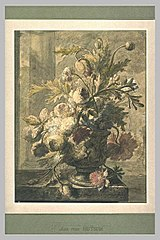 Flowers in a vase on a pedestal (design drawing)