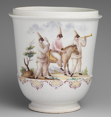 Capodimonte porcelain jar with three figures of Pulcinella from the commedia dell'arte, soft-paste, 1745-50. Jar MET DP168331 (cropped).jpg