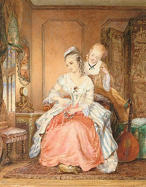 Jean Carolus - A lady and her maid watercolour, 42 x 32.5 cm