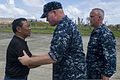 Jejomar Binay, left, the vice president of the Philippines, shakes hands with U.S. Navy Rear Adm. Mark Montgomery, center, the commander of Battle Force U.S. 7th Fleet, during a visit in support of Operation 131116-N-TE278-321.jpg
