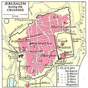 Map of Jerusalem, showing the location of the Templar headquarters on the Temple Mount