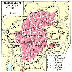 Plano de la ciudad de Jerusalén en la época de las Cruzadas
