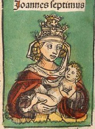"""Pope Joan -  Depiction of """"Pope John VII"""" in Hartmann Schedel's religious Nuremberg Chronicle, published in 1493"""
