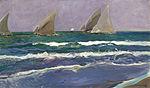Joaquín Sorolla y Bastida - Velas en el mar, Valencia (1908).jpg