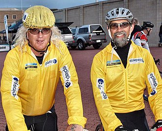 Joffa Corfe - Joffa Corfe and Joffre Pearce about to depart Murray Bridge on the final leg of their fundraising ride from Melbourne to Adelaide.