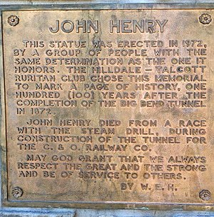 John Henry (folklore) - The ornamental plaque celebrates the life of John Henry Talcott, West Virginia.