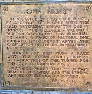 John Henry (folklore) - The ornamental plaque celebrates the life of John Henry Talcott, West Virginia.
